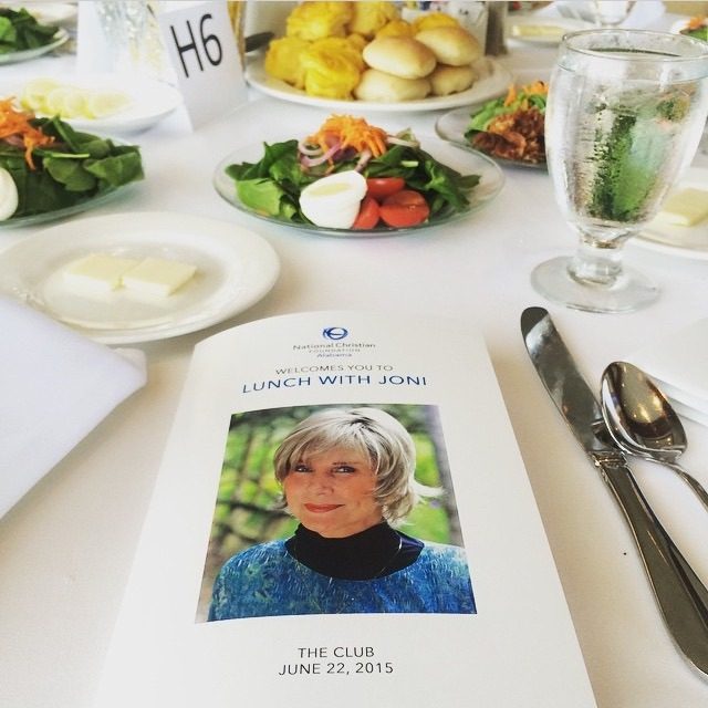 Joni Eareckson Tada brochure on luncheon table